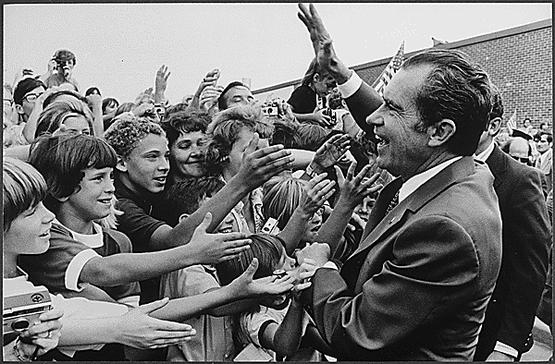 President Nixon Greeted by Dwight D. Eisenhower High School Students in Utica, Michigan.