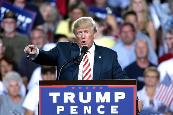 Donald Trump speaking at a campaign rally in Prescott Valley, Arizona.