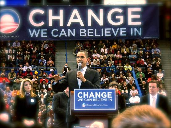 Barack Obama at a rally in Hartford, Connecticut, on February 4, 2008.