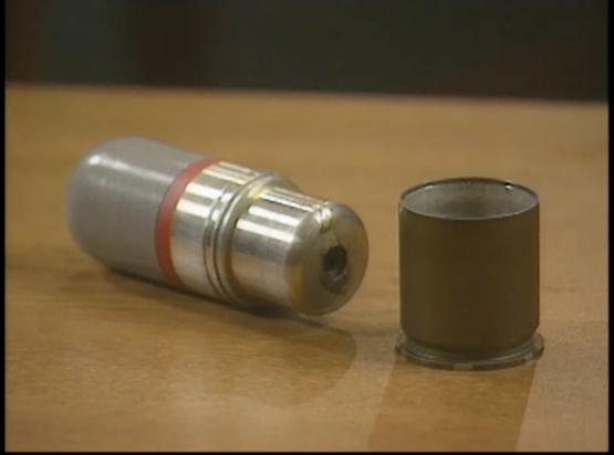 """Still Image 2 of a tear gas shell case in CBS's """"What Really Happened at Waco?"""" January 25, 2000."""